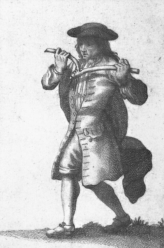 Un rabdomante raffigurato nel XVIII secolo inHistoire critique des pratiques superstitieuses, (Jean-Frederic Bernard, 1733–1736)