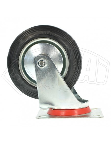 WHEEL with ROTATING SUPPORT DIAM 80 MM REPLACEMENT for RUBBER CART