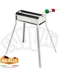 50 X 30 CM DOUBLE STAINLESS STEEL BBQ FOR ARROSTICINI SKEWERS BARBECUE WITH LEGS
