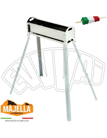 50 CM - STAINLESS STEEL BBQ FOR ARROSTICINI SKEWERS BARBECUE WITH LEGS