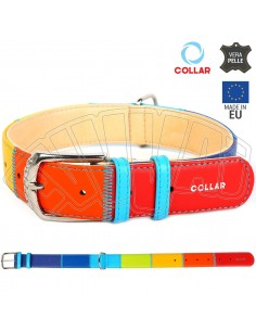 30-39 CM X 20 MM COLLARE CANE IN PELLE RAINBOW PATCHWORK MULTICOLOR CANI CUOIO