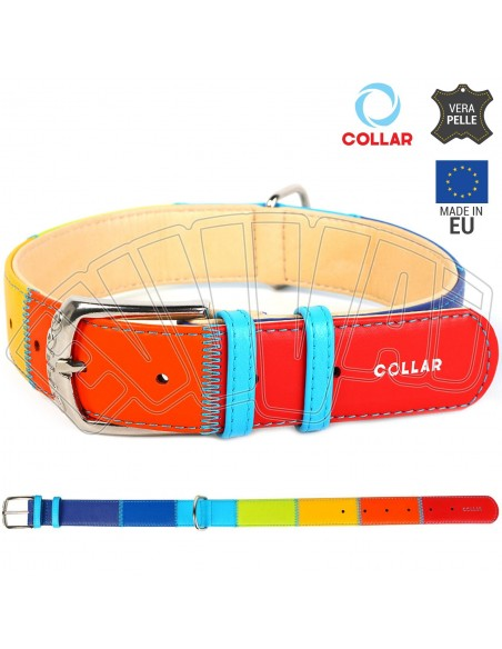 COLLARE CANE IN PELLE RAINBOW PATCHWORK MULTICOLOR CANI CUOIO